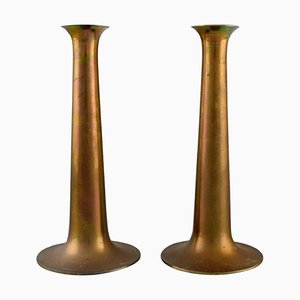 Trumpet Candlesticks in Brass by Torben Ørskov, Denmark, 1960s, Set of 2