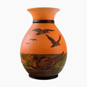 Vase with Seagulls in Hand-Painted Glazed Ceramic from Ipsen's, Denmark, 1920s