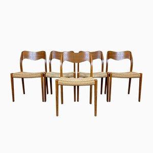 Dänische Teak Esszimmerstühle von JL Møllers, 1960er, 5er Set