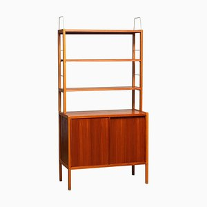 Teak, Oak & Brass Bookcase by Bertil Fridhagen for Bodafors, Sweden, 1960s