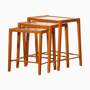 Beech and Glass Nesting Tables, Sweden, 1960s, Set of 3