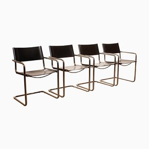 Black Leather MG5 Dining or Office Chairs by Mart Stam for Matteo Grassi, 1970s, Set of 4