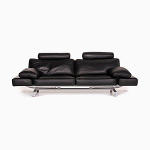 Black Leather Gaetano 687 3-Seat Sofa from WK Wohnen