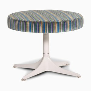 Blue Multi-Colored Striped Fabric Stool from Cor