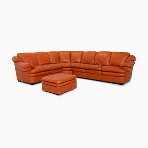 Terracotta Leather Corner Sofa & Stool from Natuzzi, Set of 2