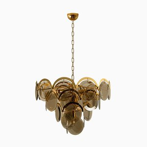 Large Smoked Glass and Brass Chandelier, 1970s