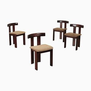 Stained Beech Wood Chairs, 1980s, Set of 4