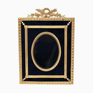 19th Century Gilded Brass and Blue Velvet Photo Frame