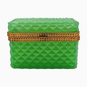 19th Century Green Crystal Box