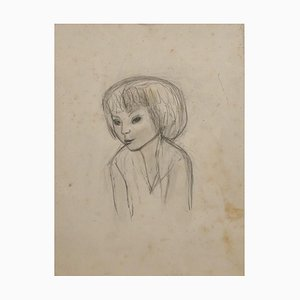Jeanne Daour, Portrait of Young Girl, 20th Century, Pencil