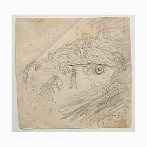 Jeanne Daour, Bauern, Mitte 20. Jahrhundert, Bleistift