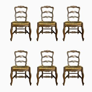 Louis XV Natural Wood Dining Chairs, 1920s, Set of 6
