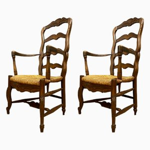 Louis XV Natural Wood Armchairs, 1920s, Set of 2