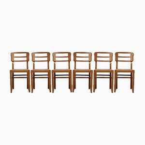 Mid-Century French Modernist Dining Chairs by Pierre Cruège, 1950s, Set of 6