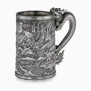 19th-Century Chinese Export Solid Silver Battle Scene Mug from Leeching