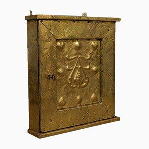 Antique Corner Cupboard in Brass & Mahogany