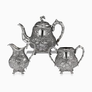 19th-Century Chinese Export Solid Silver Tea Set from Woshing, Set of 3
