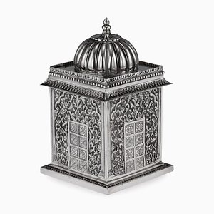 19th-Century Indian Solid Silver Temple Shaped Tea Caddy from Oomersi Mawji