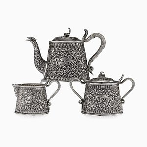19th-Century Indian Cutch Solid Silver 3 Piece Hunting Scenes Tea Set, Set of 3