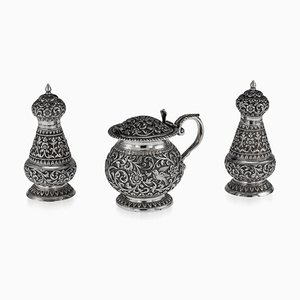 19th-Century Indian Cutch Solid Silver Condiment Set from Oomersi Mawji, Set of 3