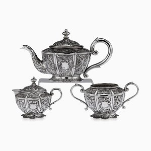 20th-Century South Asian Solid Silver Tea Set, Set of 3