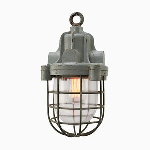 Vintage Industrial Gray Cast Iron Clear Glass Pendant