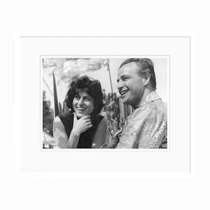 Magnani & Marlon On Set Archival Pigment Print Framed In White by Everett Collection