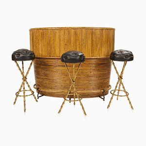 20th-century French Bamboo Cocktail Bar & Bar Stools by Jacques Adnet, 1950s, Set of 4