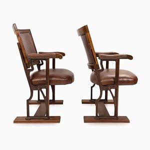 20th-Century Edwardian Mahogany & Leather Cinema Chairs, Set of 2