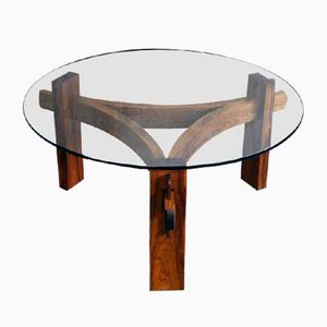 Palisander & Glass Round Danish Coffee Table, 1970s