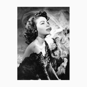 Ava Gardner Silver Gelatin Resin Print Framed In White by Baron