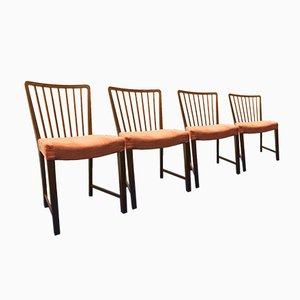 Vintage Teak Dining Chairs by Ole Wanscher for Fritz Hansen, Set of 4
