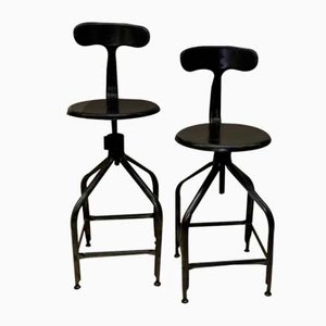 Adjustable Metal High Stools from Nicolle, 1960s, Set of 2