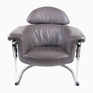 Leather Lounge Chair With Tubular Chrome Frame, 1980s