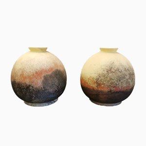 Vintage Glass Vases from Vianne, Set of 2