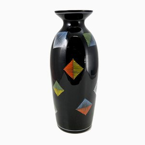 Schwarze Handbemalte Glasvase von VEB Kunstglas Arnstadt, 1960er