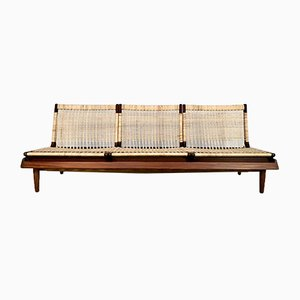 Danish Three-Seater Teakwood & Cane Modular Model TV 161 Sofa by Hans Olsen for Bramin, 1957
