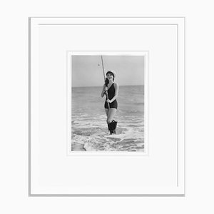 Ava Gardner Fishing In Her Swimming Suit Archival Pigment Print Framed In White by Everett Collection