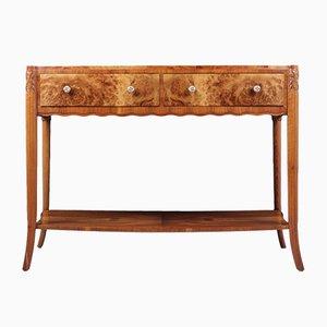Art Deco Burr Walnut Console Table