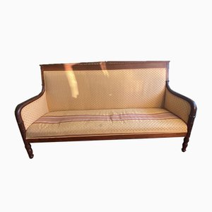 Large Mahogany Bench With Palm Leaves