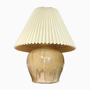 Danish Glazed Ceramic Table Lamp with Folded Paper Shade, 1960s