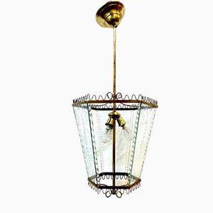 Vintage Brass Lantern Pendant from Venini