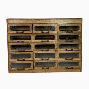 Vintage Oak 15-Drawer Haberdashery Cabinet, 1930s