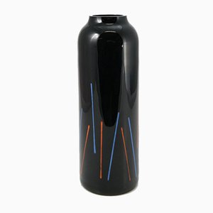 Hand Painted Black Glass Vase from VEB Kunstglas Arnstadt, 1960s