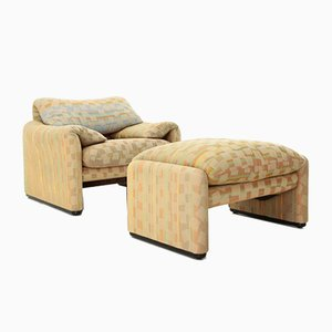 Lounge Chair & Ottoman by Vico Magistretti for Cassina, 1970s, Set of 2