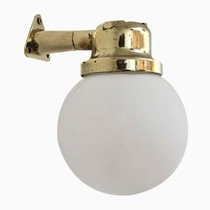 Opaline Glass and Brass Sconce, 1960s