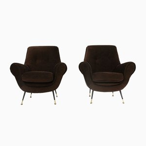 Brown Velvet Lounge Chairs, 1960s, Set of 2