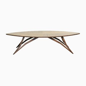 Mid-Century Style Curved American Nut Coffee Table