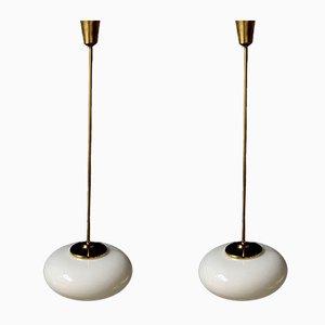 Vintage Messing Deckenlampen von Stilnovo, 2er Set