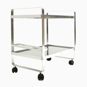 Chromed Metal Trolley With Glass Tops, 1970s